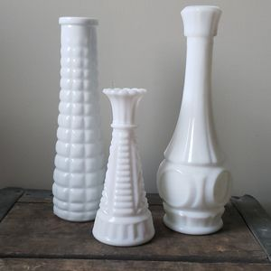 3 Vintage White Milk glass Vases